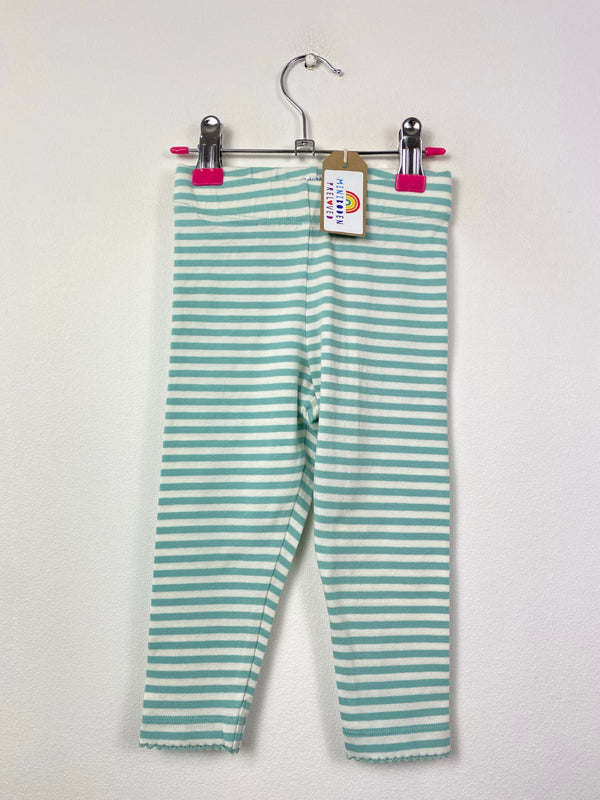 Green & White Stripy Leggings (18-24 Months)