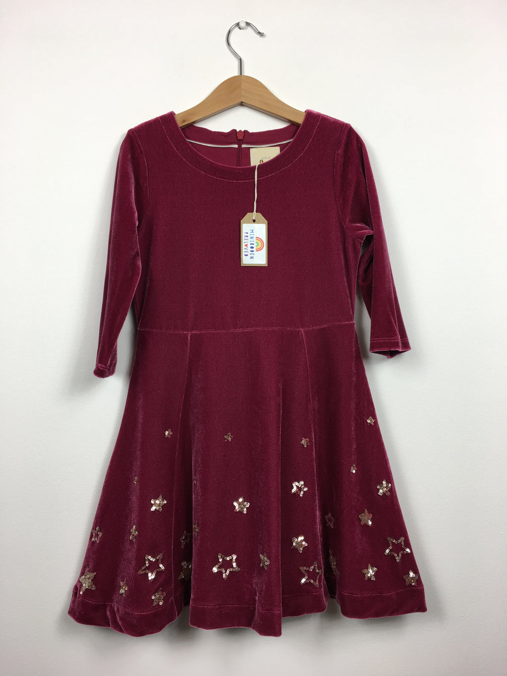 Burgundy Velvet Party Dress With Sequin Stars (6-7 Years)