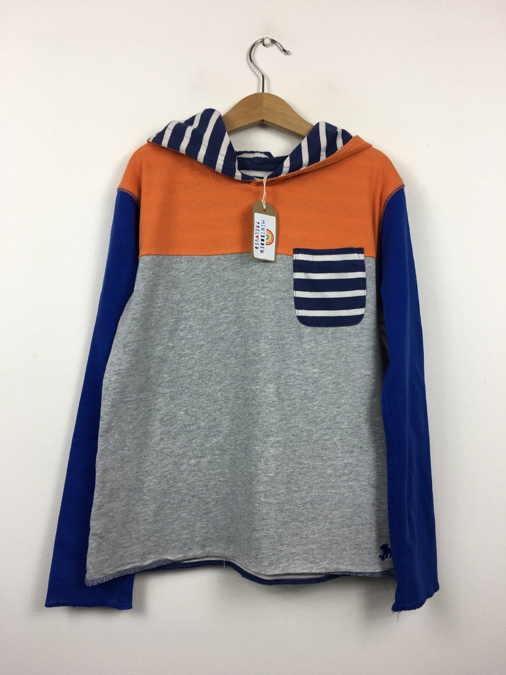 Hooded Grey and Orange Lightweight Reversible Top (9-10 Years)