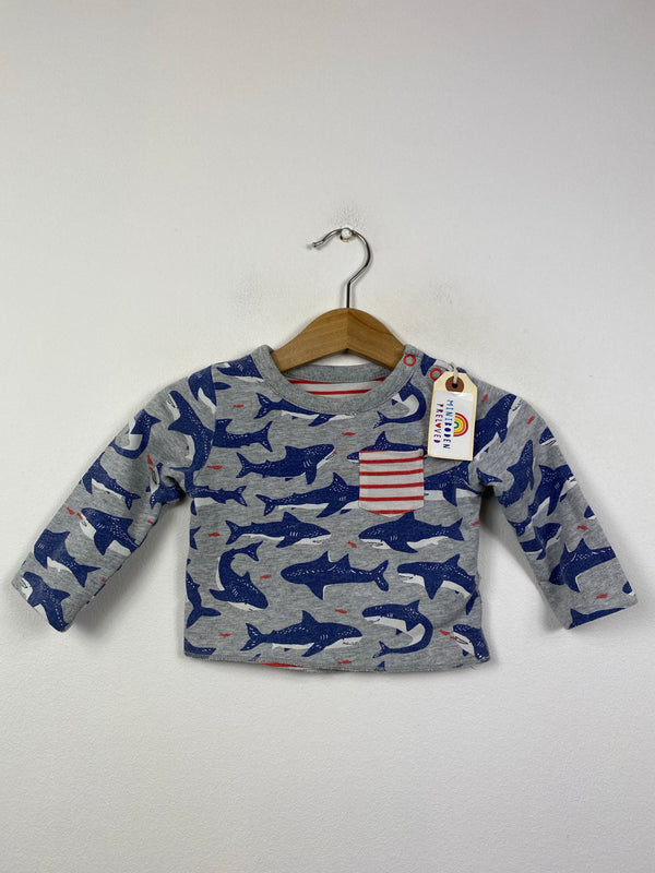 Shark/Stripes Reversible Top (0-3 Months)