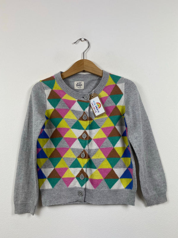 Triangle Patterned Grey Cardigan (3-4 Years)