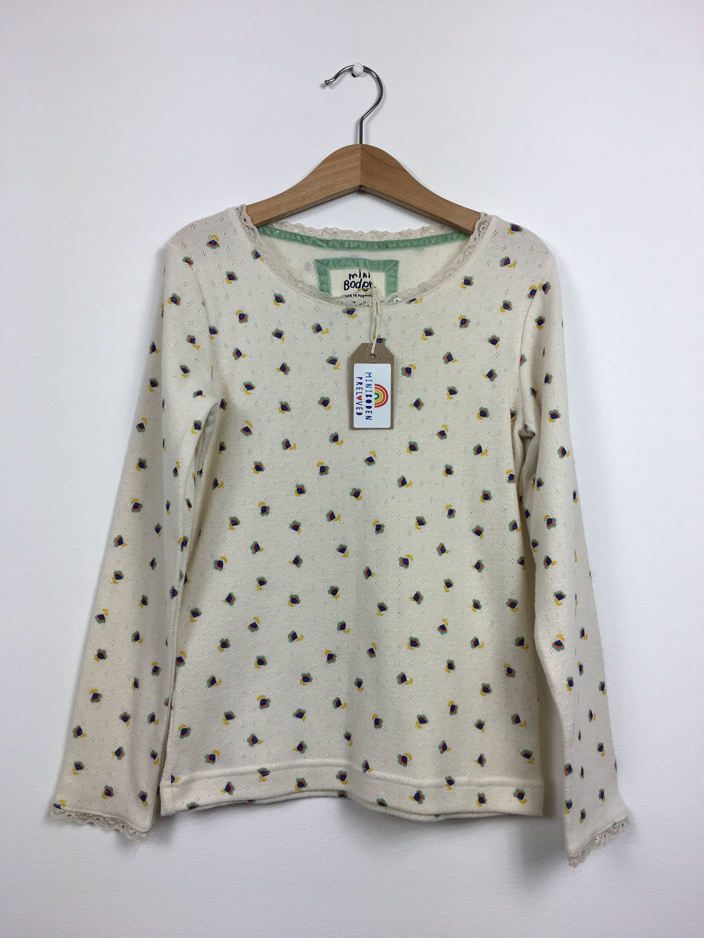 Floral Cream Pointelle Top (7-8 Years)