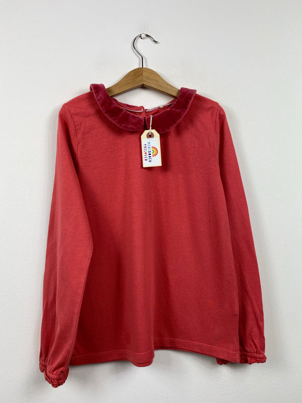 Lovely Coral Jersey Blouse With Velvet Collar (9-10 Years)