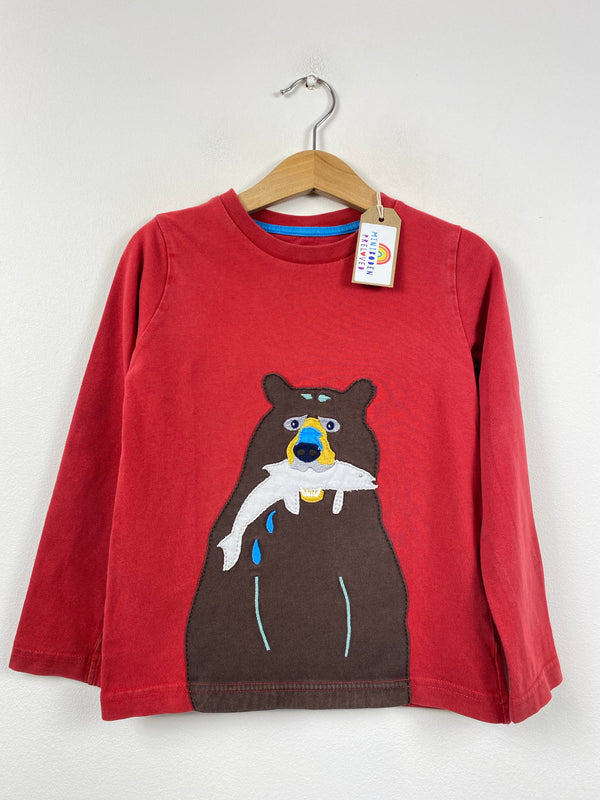 Red Applique Brown Bear Top (3-4 Years)