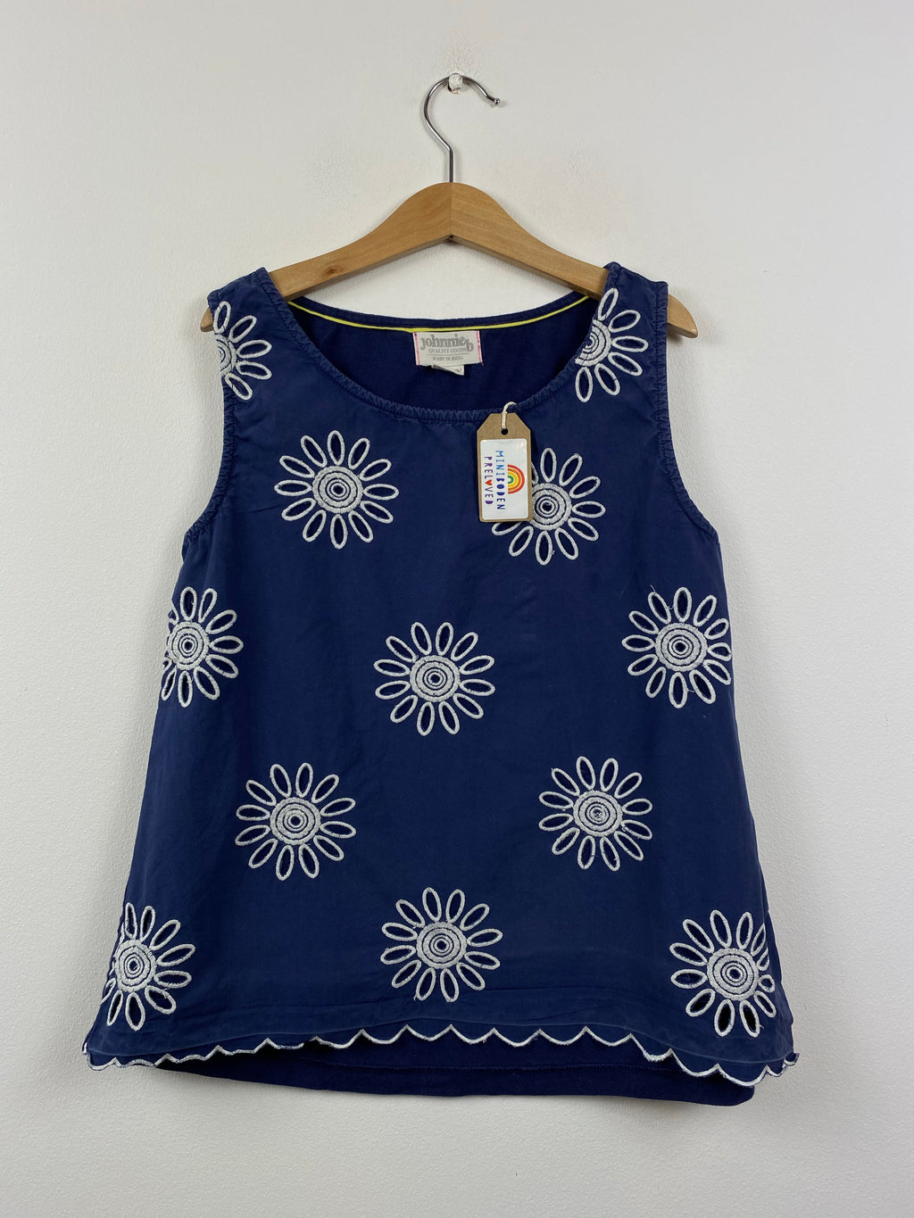 Navy Broderie Anglaise flower Design Sleeveless Top (9-10 Years)