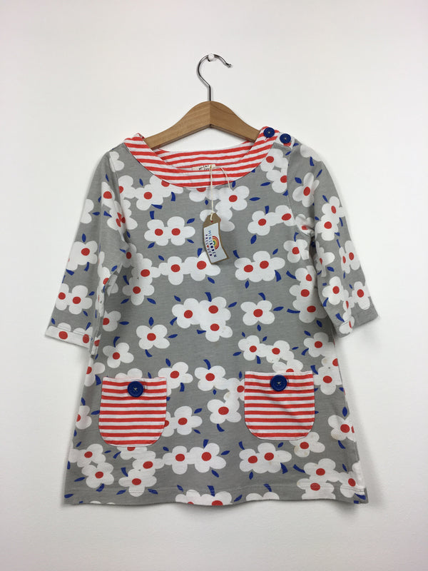 Grey Floral Hotchpotch Dress (Age 4-5)