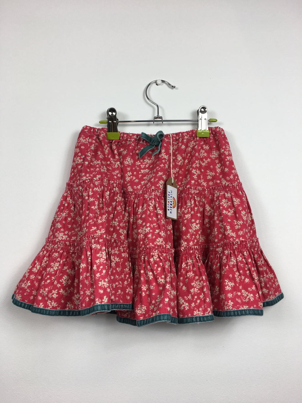 Red Floral Twirly Cord Skirt  (2-3 Years)