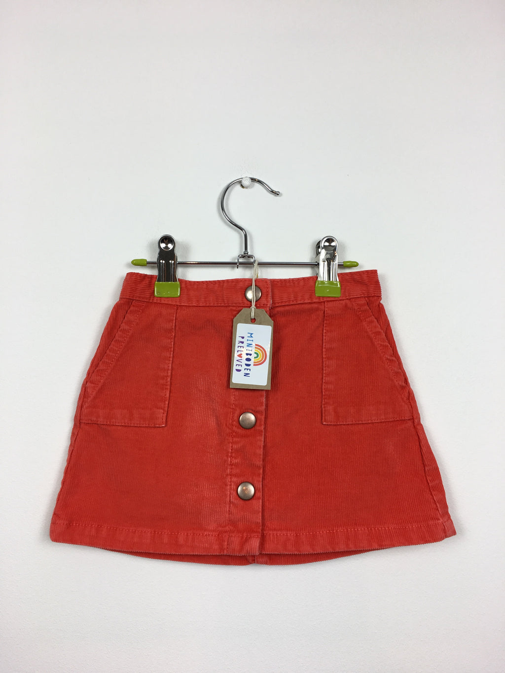 Coral Button Up Cord Skirt (2-3 Years)