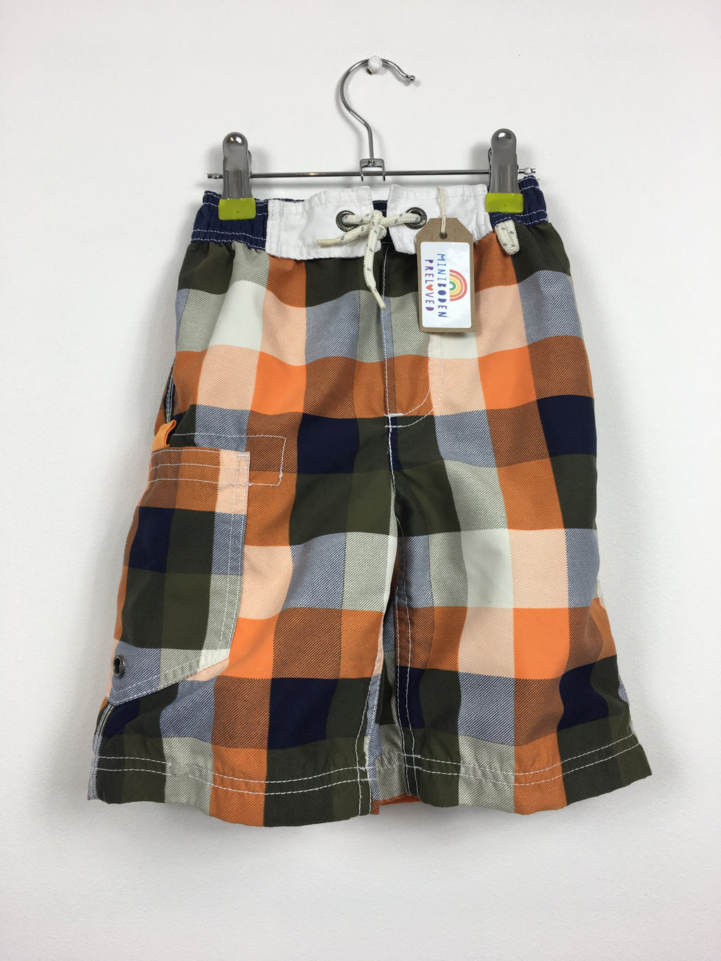 Orange checked Swim Shorts (3-4 Years)