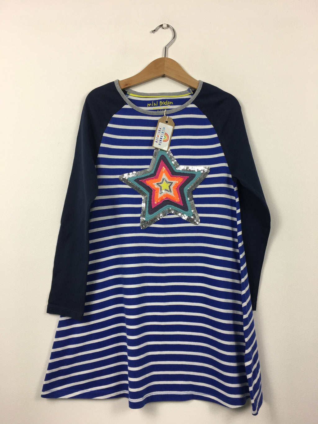 Blue Stripy Applique Star Jersey Dress (6-7 Years)