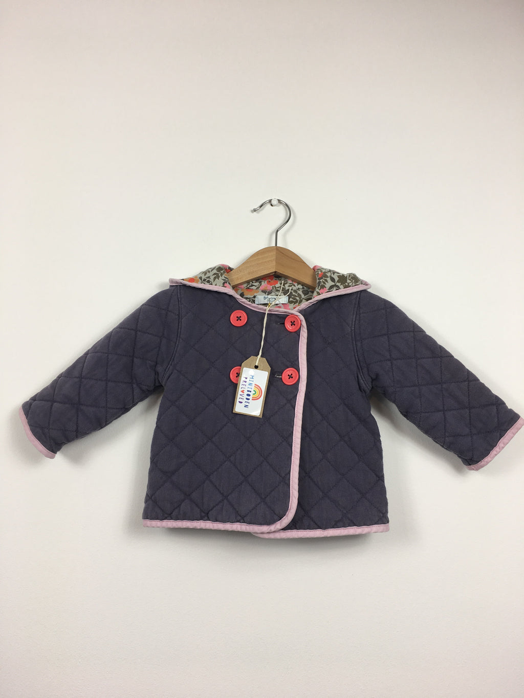 Plum Quilted Hooded Jacket With Floral Lining (3-6 Months)