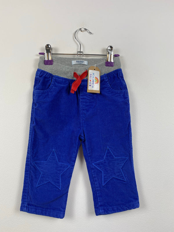 Petrol Blue Star Patch Lined Cords (6-12 Months)
