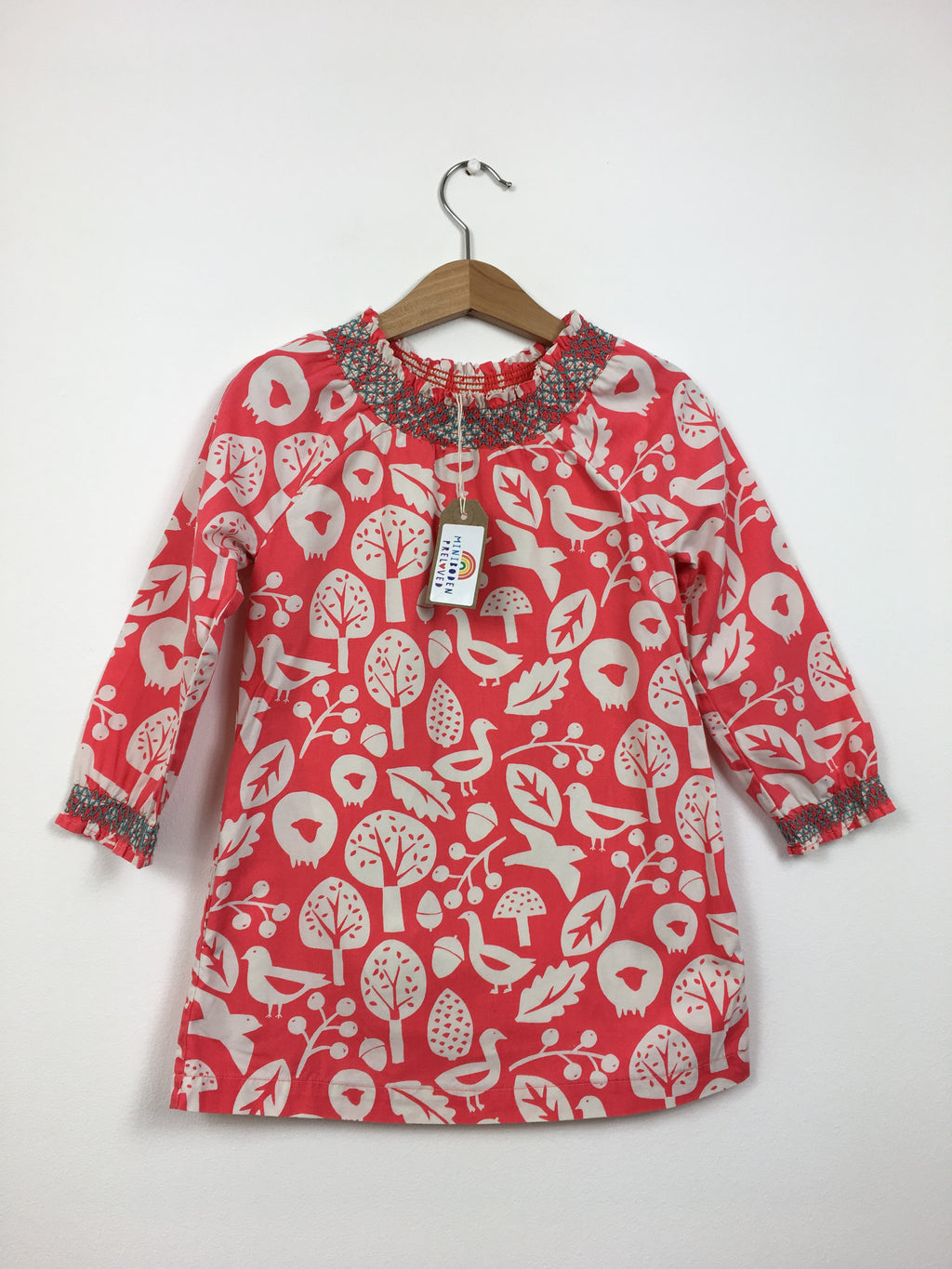 Coral Woodland Print Dress (3-4 Years)