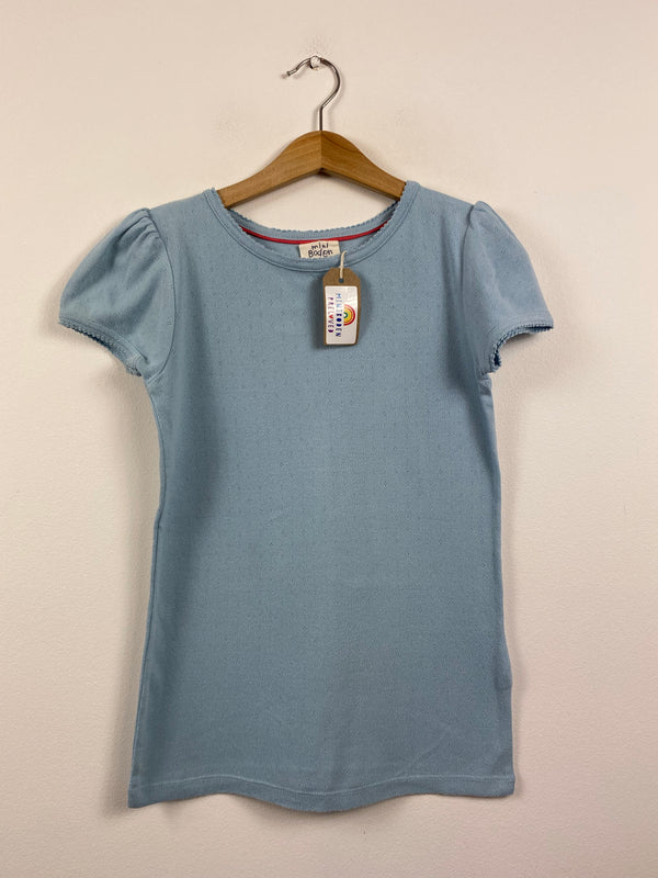 Pale Blue Pointelle Short-Sleeved Top (11-12 Years)