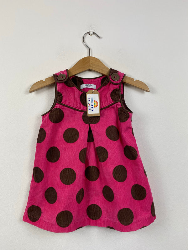 Pretty Pink Spotty Cord Pinafore Dress (6-12 Months)