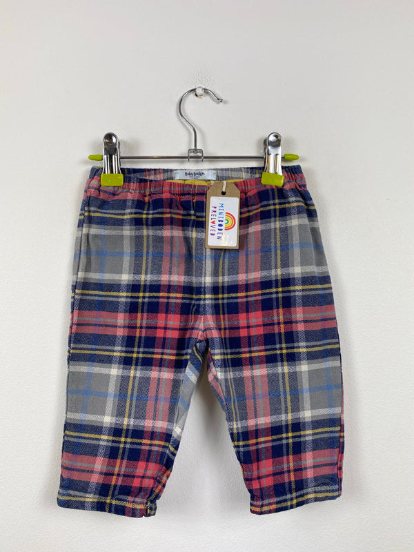 Red, Grey & Blue Tartan Lined Trousers (3-6 Months)
