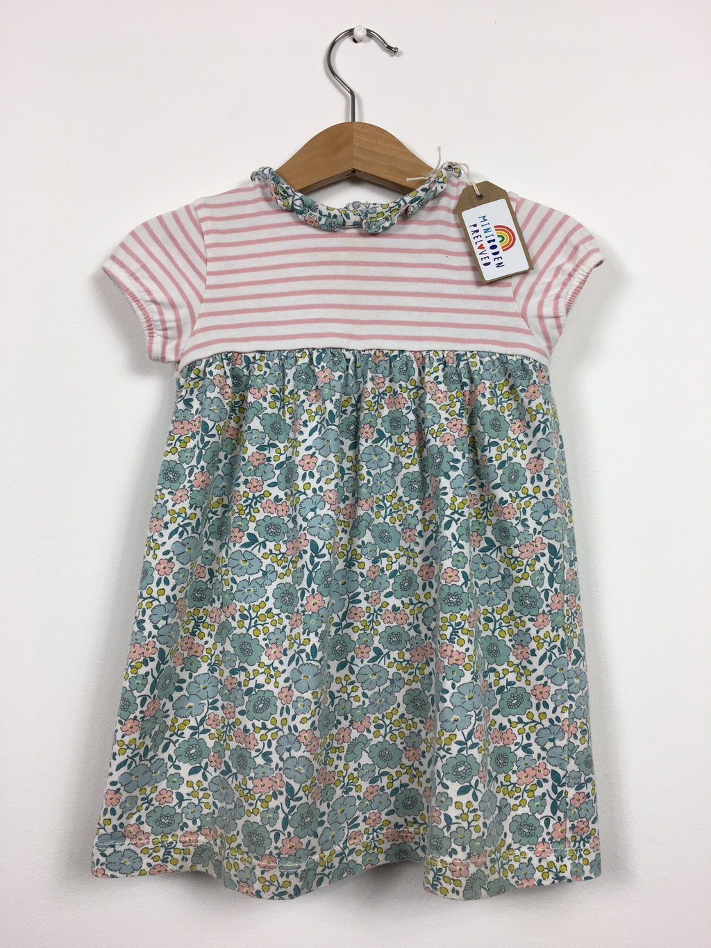 Floral & Stripes Dress with Pretty Collar (Age 12-18 Months)