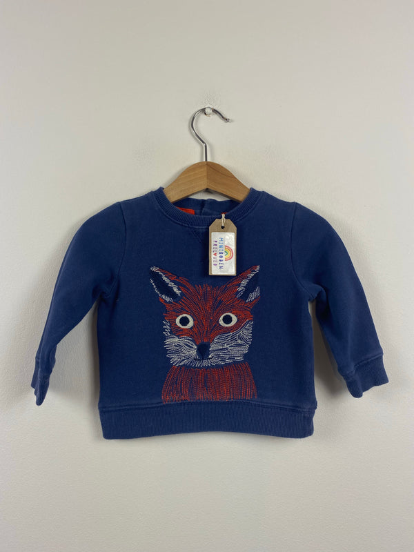 Fox Embroidered Navy Jumper (3-6 Months)