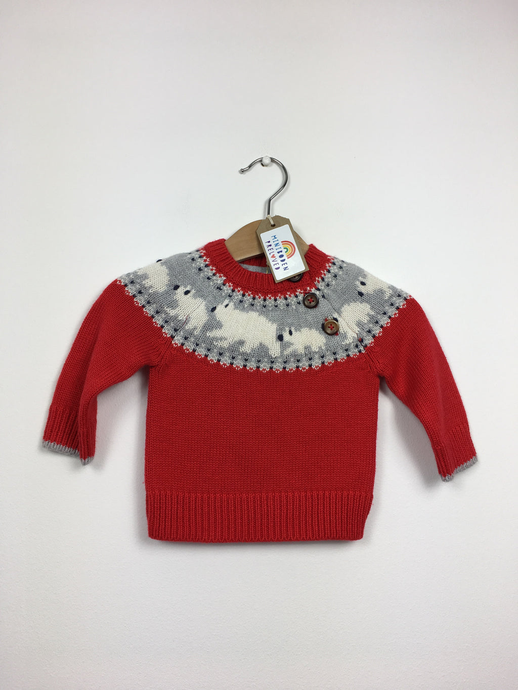 NEW Red Polar Bear Knitted Jumper (0-3 Months)