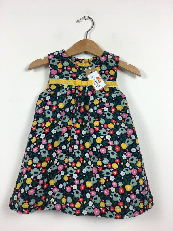 Dark Floral Cord Pinafore Dress (6-12 Months)