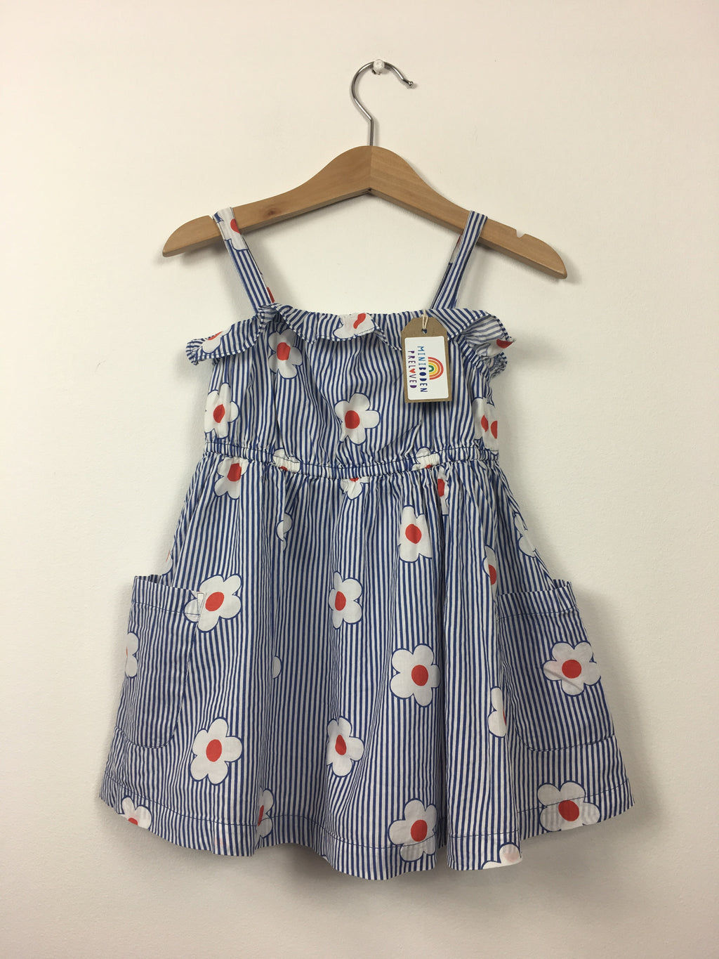 Stripy Blue Flower Print Sun Dress (18-24 Months)