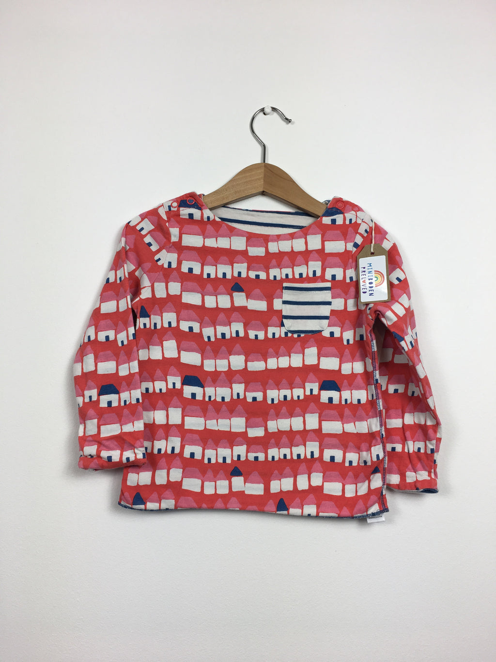 Red & Blue House Print Reversible Top