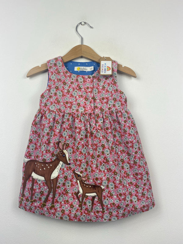 Beautiful Pink Floral Appliqué Deer Dress (6-12 Months)