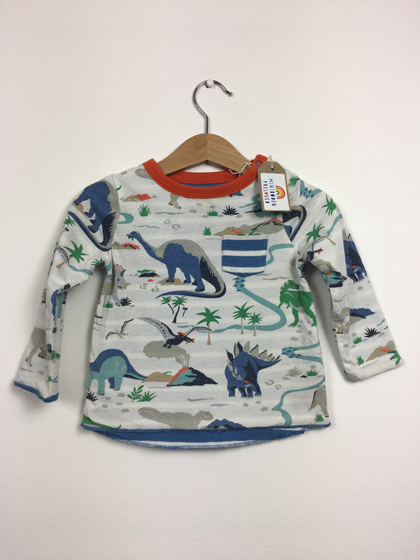 Blue & White Reversible Dino Print Top (3-6 Months)