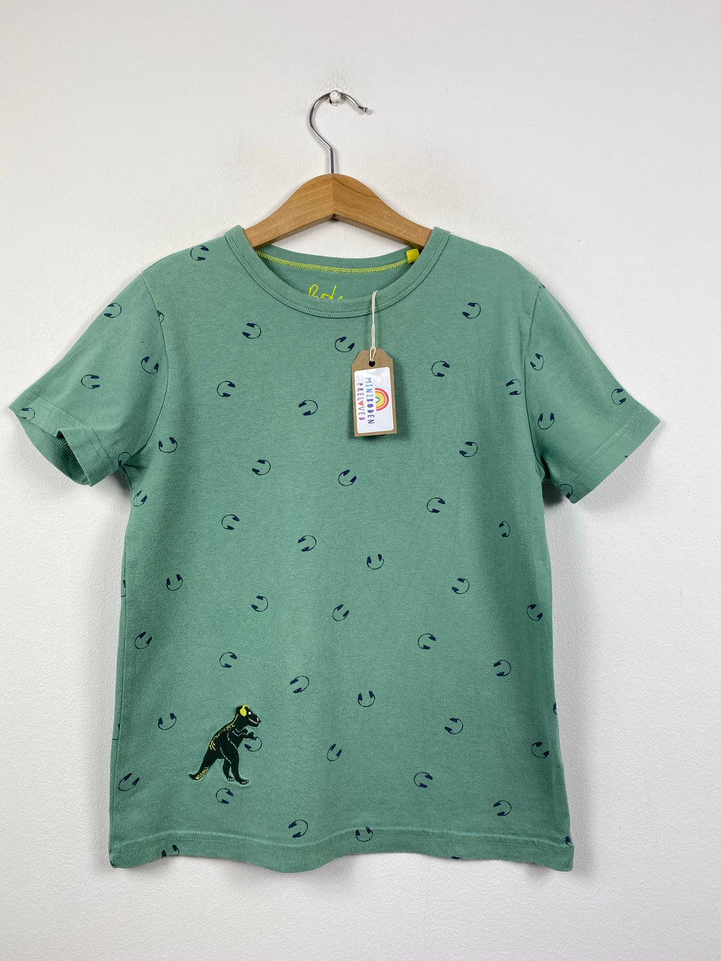 Green Embroidered Dinosaur Design Top (8-9 Years)