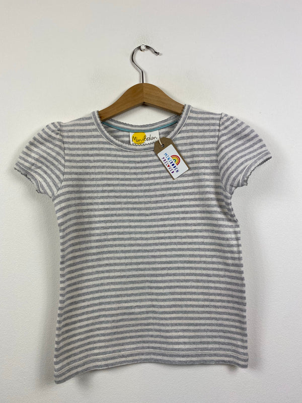 Grey Stripy Pointelle Short sleeved Top (7-8 Years)