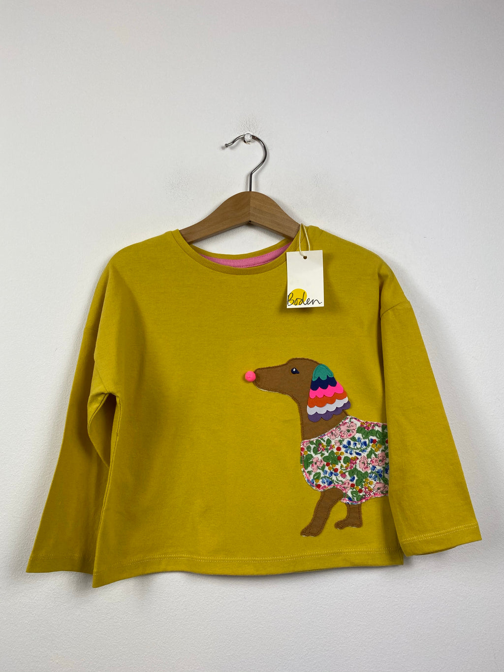 NEW Applique Dog Mustard Top (2-3 Years)