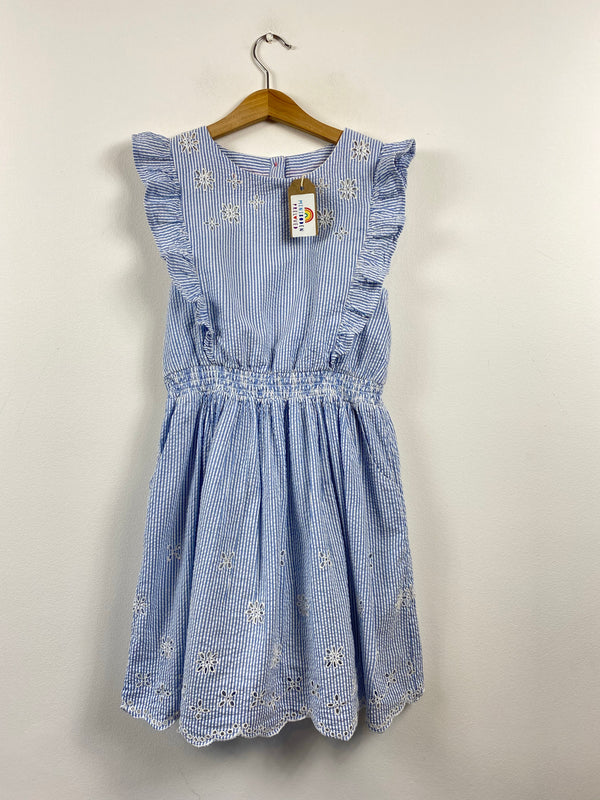 Beautiful Ticking Stripe Broderie Anglaise Occasion Dress (9-10 Years)