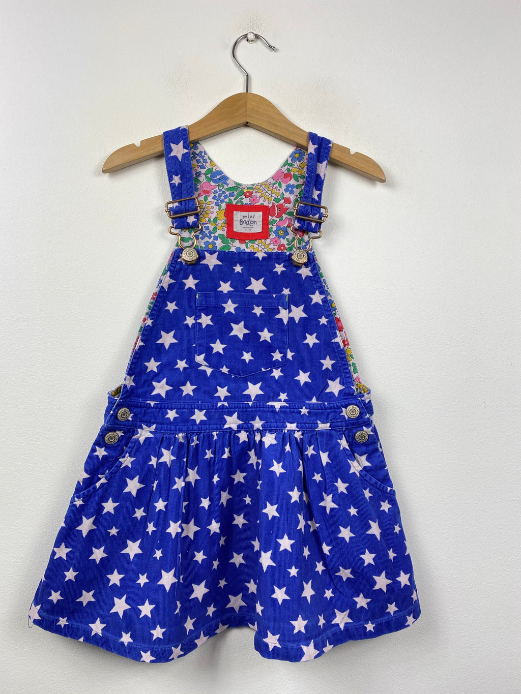 Blue Needlecord Star Dungaree Dress (3-4 Years)
