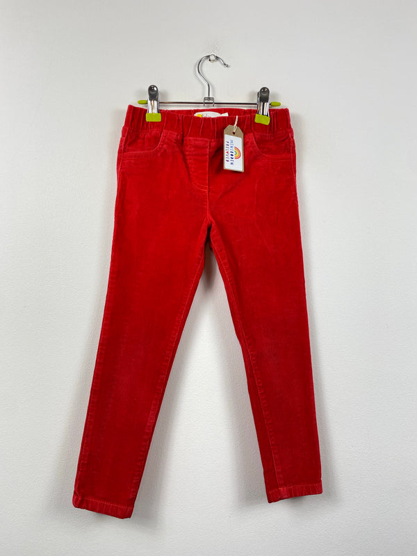 Fire Engine Red Slim Leg Cord Trousers (5 Years)