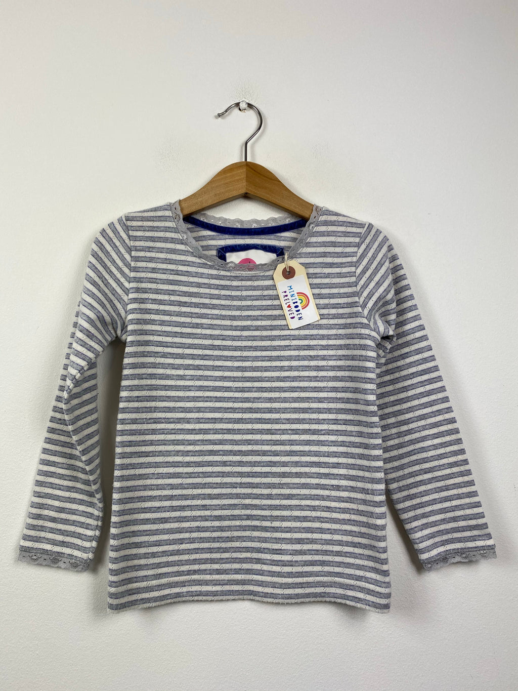 Grey Stripy Pointelle Top (4-5 Years)