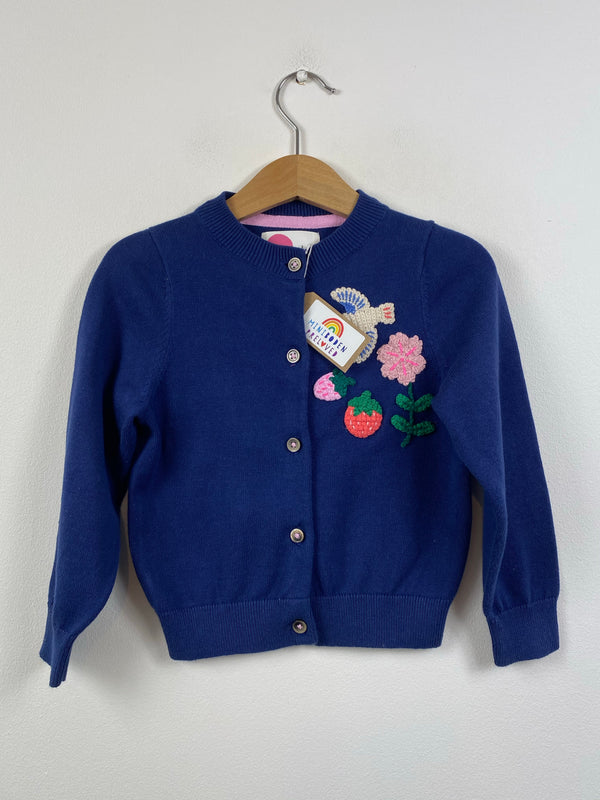 Beautiful Navy Strawberry Crochet Cardigan (2-3 Years)