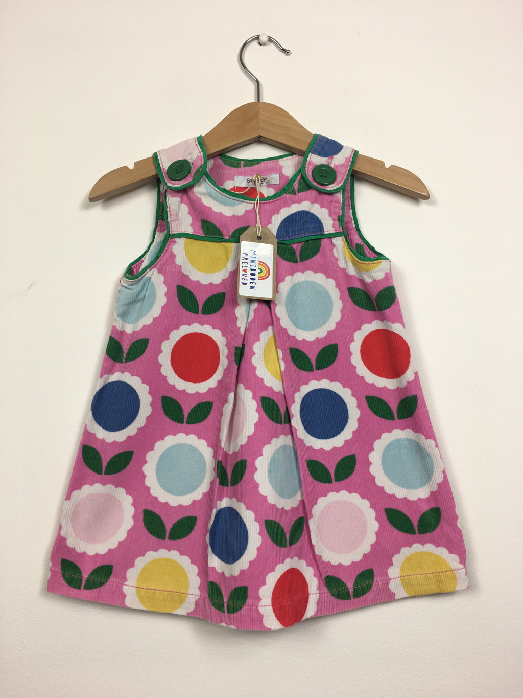 Pink Retro Print Cord Pinafore Dress (6-12 Months)