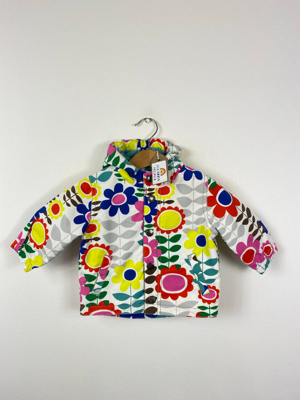 Vibrant Flower Patterned Fleece Lined Jacket (3-6 Months)