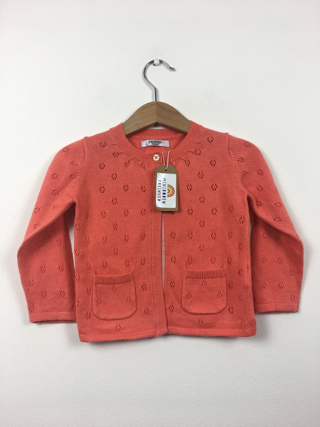 Vibrant Coral Pointelle Cardigan (12-18 Months)