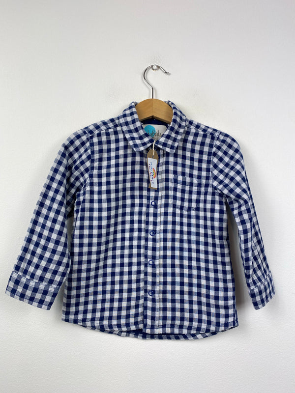Lovely Blue & White Cotton Checked Shirt (18-24 Months)