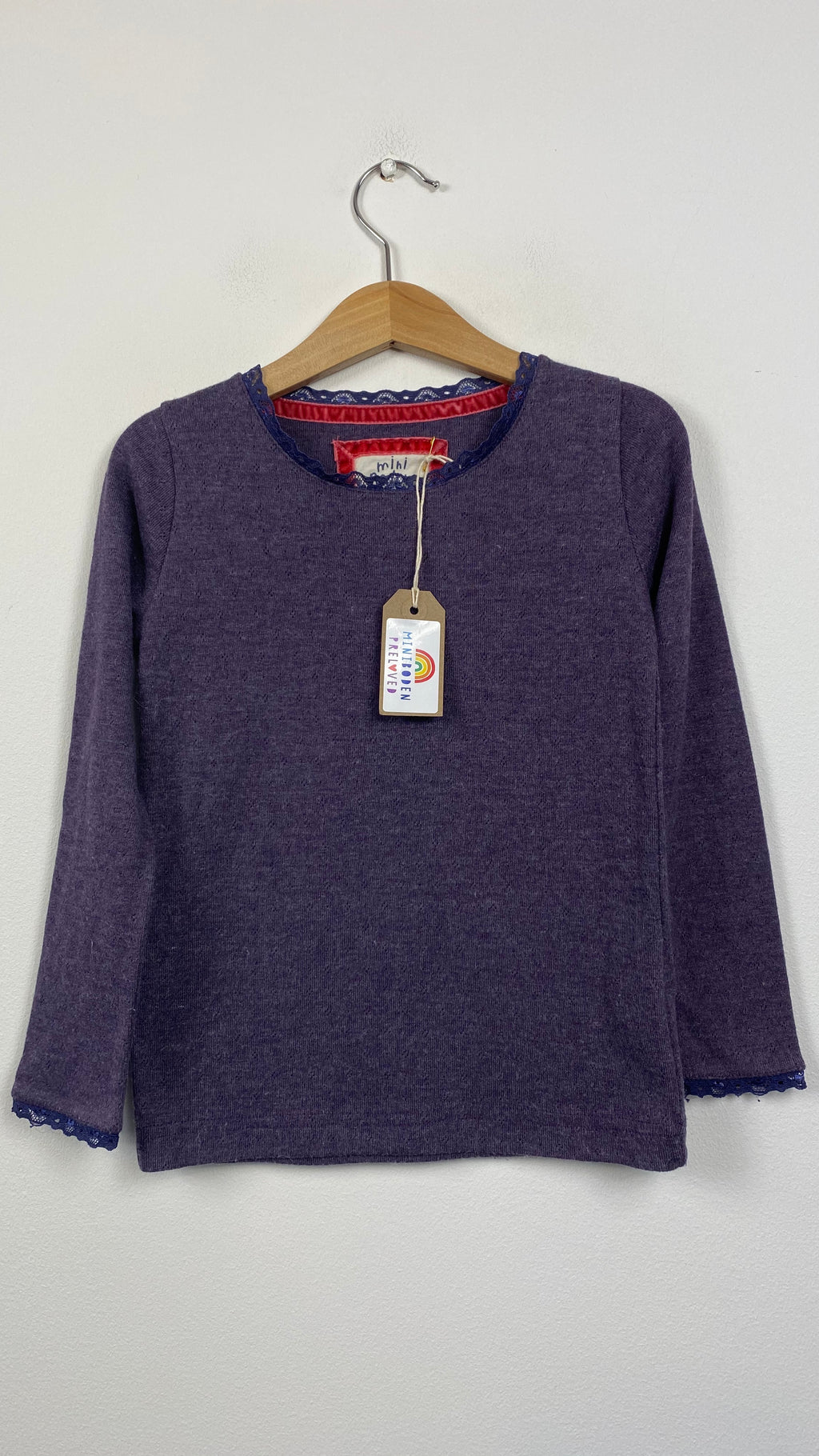 Soft Aubergine Coloured Pointelle Top (4-5 Years)