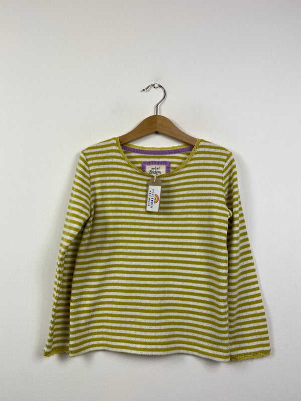 Lime Green & White Stripy Pointelle Top (5-6 Years)