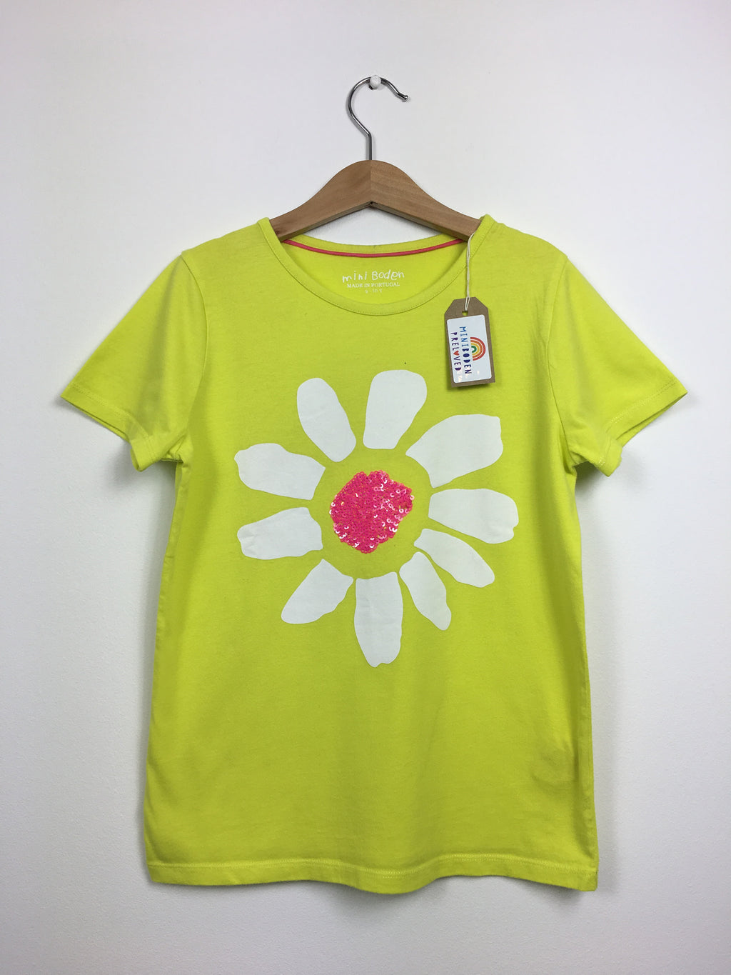 Bright Yellow Sequin Flower Top (9-10 Years)