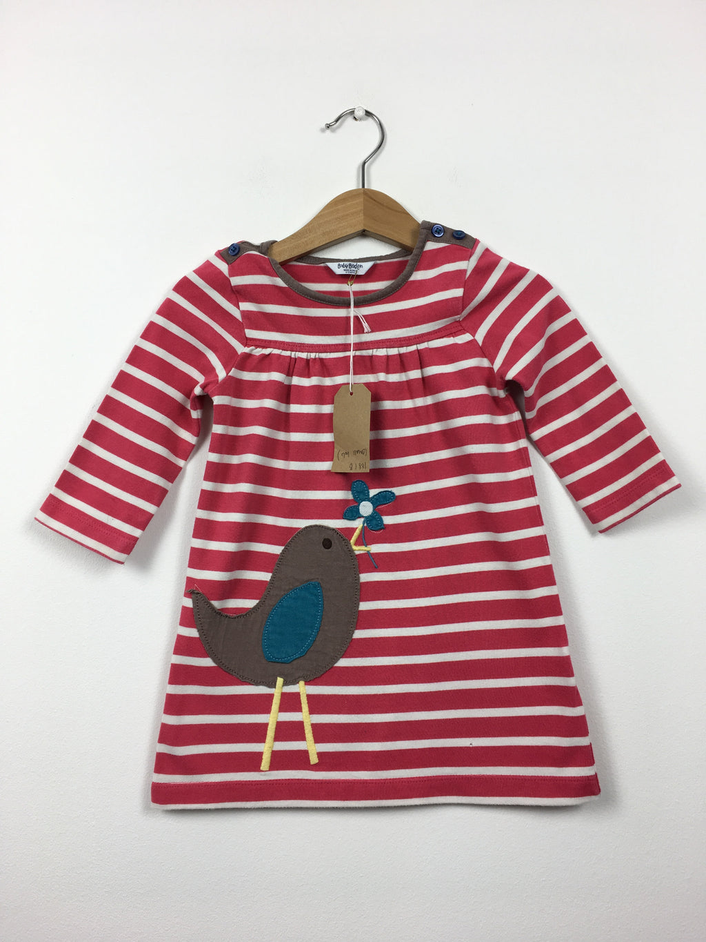 Stripy Appliqué Bird Dress (6-12 Months)