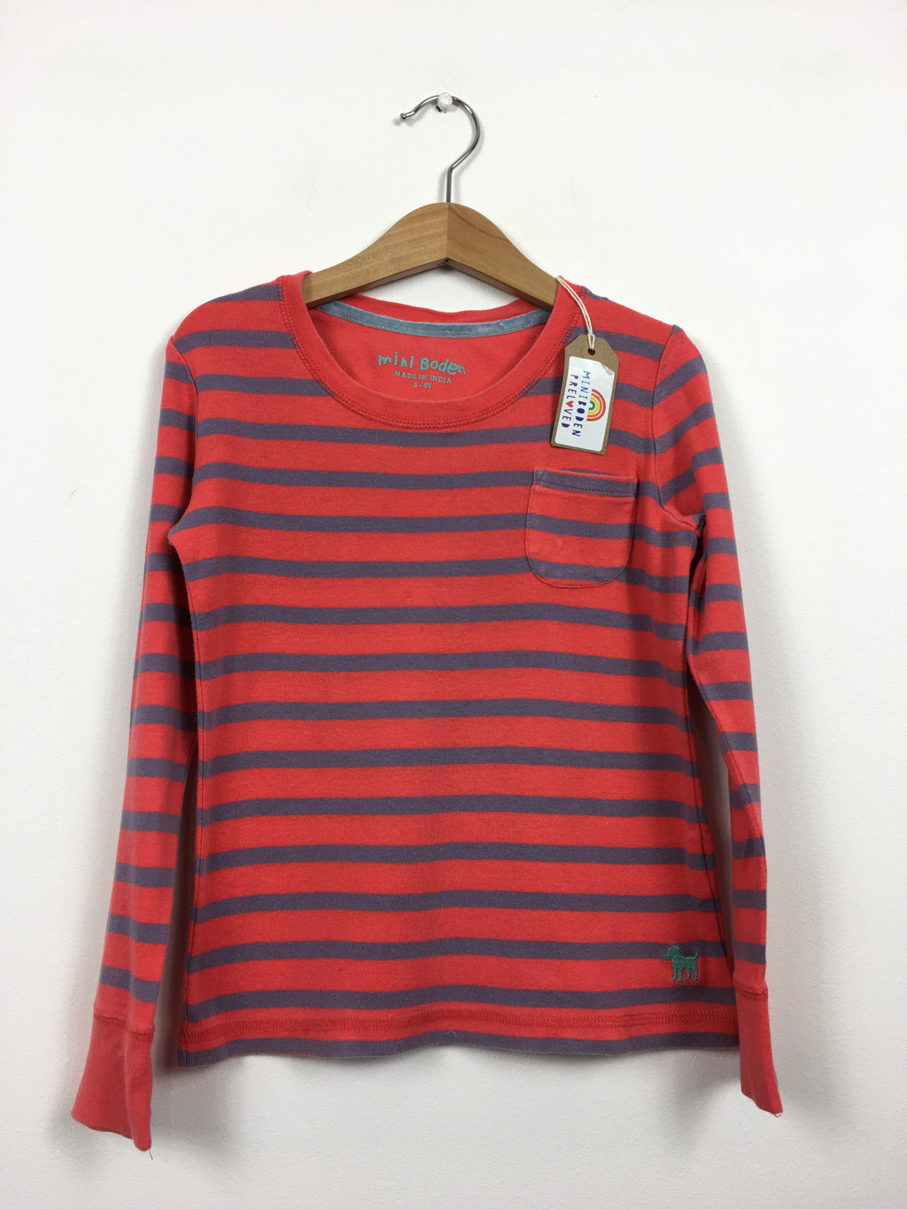 Coral Stripy Everyday Top (5-6 Years)