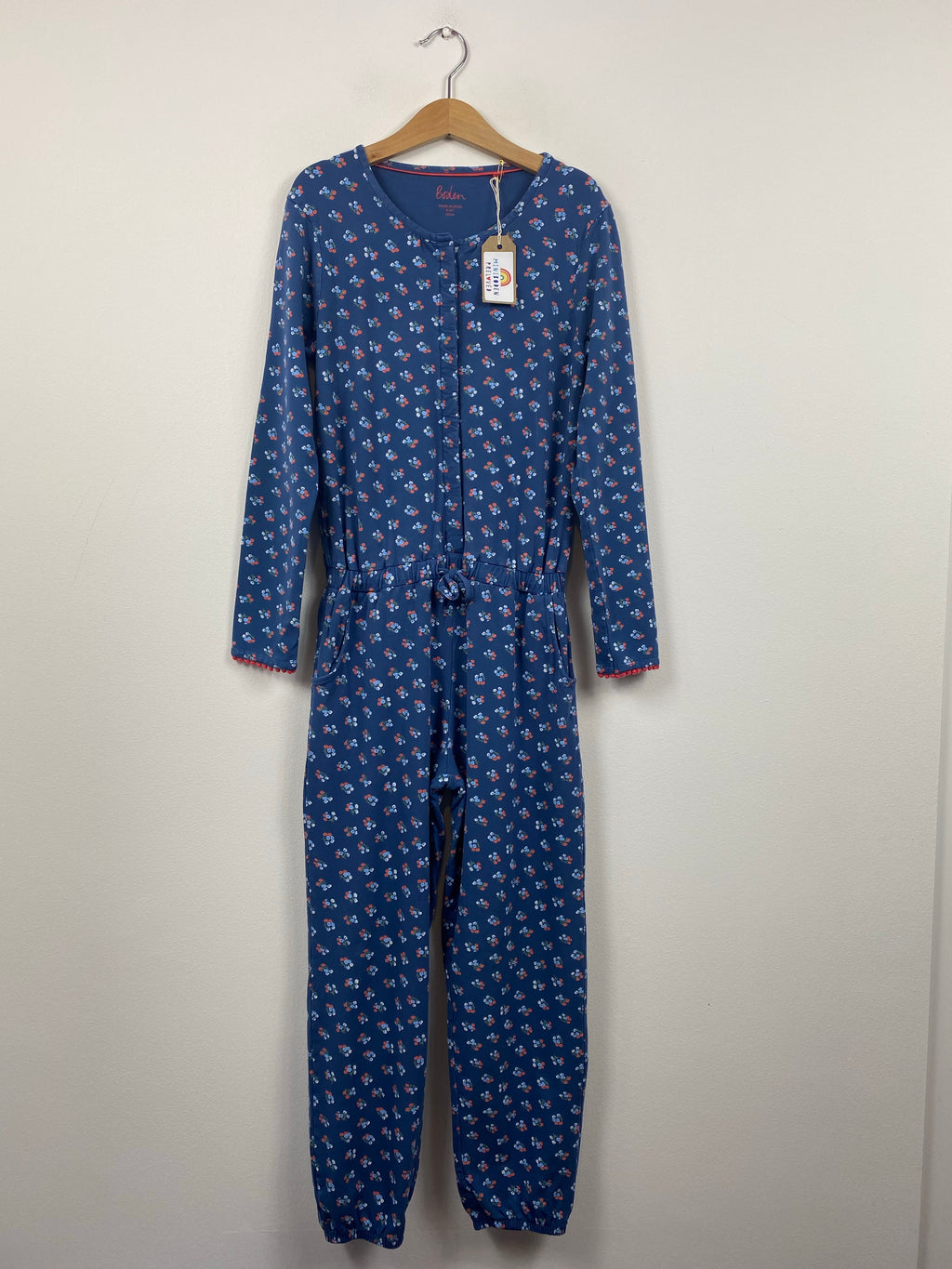 Blue Floral Jersey Playsuit (9-10 Years)