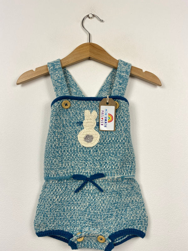 Super Special Teal & White Knitted Romper (3-6 Months)