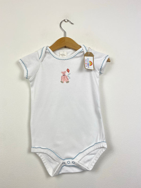 White Vest Top With Bear Design (18-24 Months)