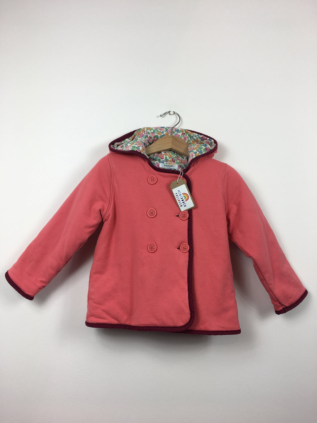 Floral Lined Coral Hooded Jacket (2-3 Years)