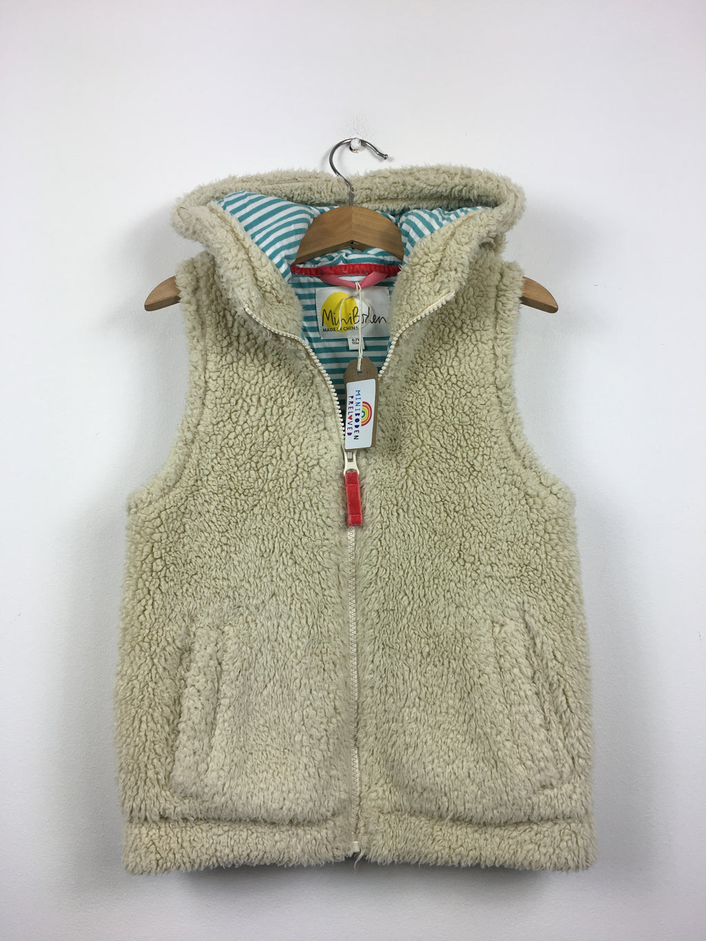 Beige Hooded Shaggy Gilet (6-7 Years)